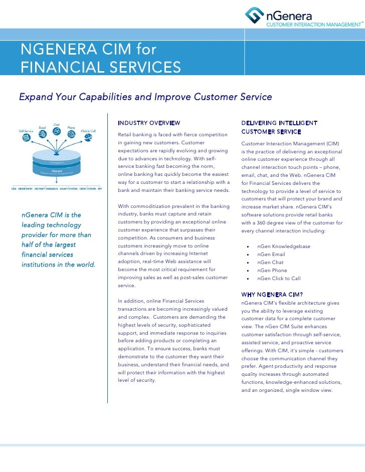 NGENERA CIM for FINANCIAL SERVICES Expand Your Capabilities and Improve Customer Service                               IND...
