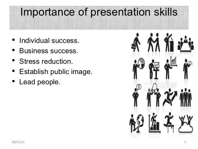 Importance of presentation skills  Individual success.  Business success.  Stress reduction.  Establish public image. ...