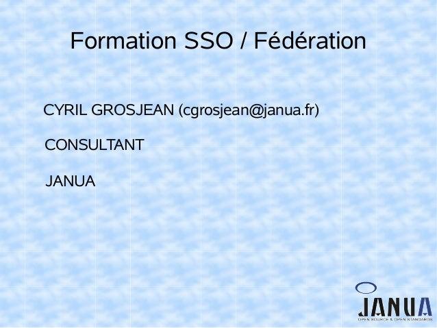 Formation SSO / Fédération CYRIL GROSJEAN (cgrosjean@janua.fr) CONSULTANT JANUA