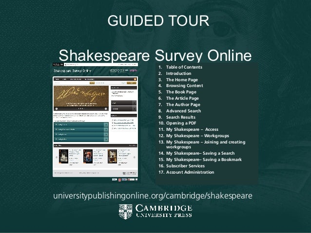 Shakespeare Survey OnlineShakespeare Survey Online1. Table of Contents2. Introduction3. The Home Page4. Browsing Content5....
