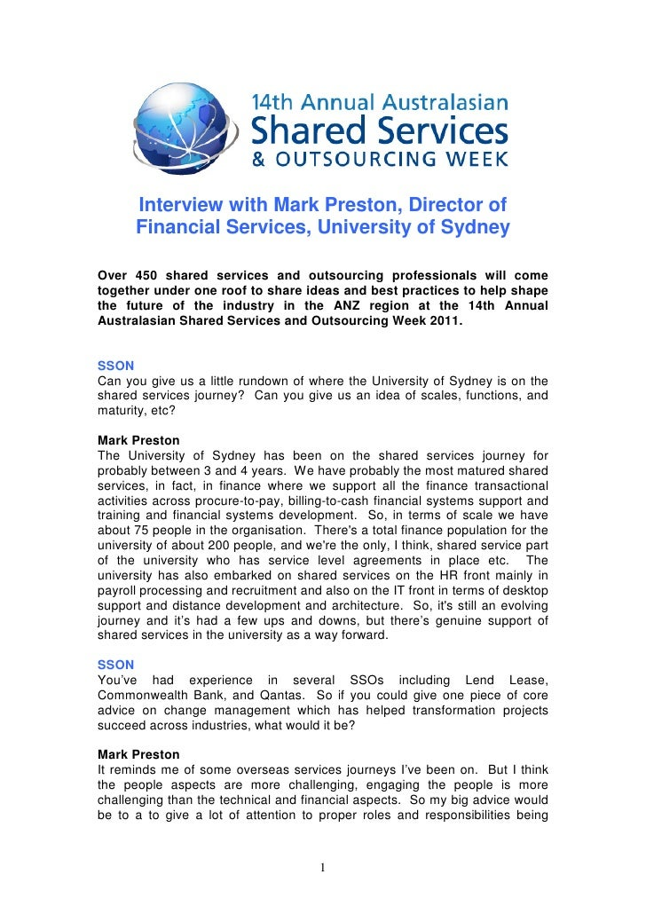 Interview with Mark Preston, Director of      Financial Services, University of SydneyOver 450 shared services and outsour...