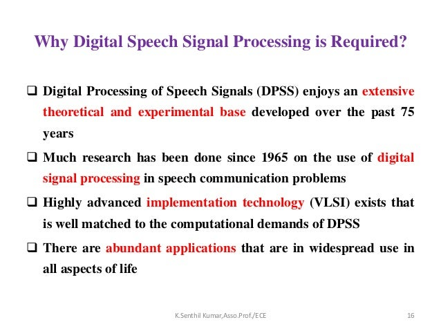 Speech Signal Processing-Application overview -Seminar Part-1