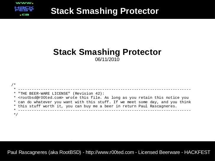 Stack Smashing Protector                   Stack Smashing Protector                                     06/11/2010 /*  * -...