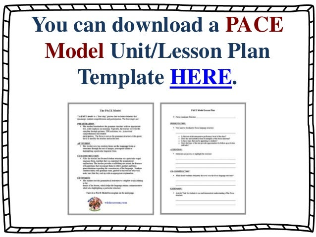 The Pace Model Inductive Foreign Language Grammar Teaching Wlclassr
