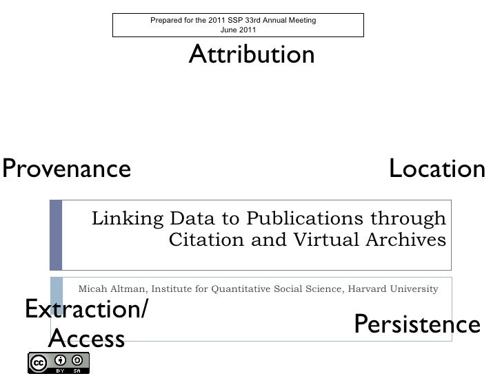 Linking Data to Publications through Citation and Virtual Archives Micah Altman, Institute for Quantitative Social Science...