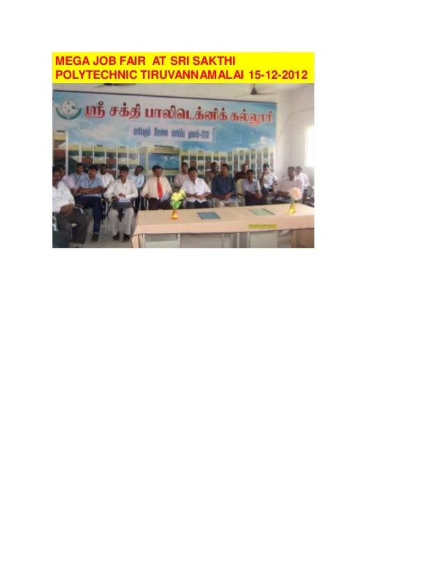 MEGA JOB FAIR AT SRI SAKTHI POLYTECHNIC TIRUVANNAMALAI 15-12-2012