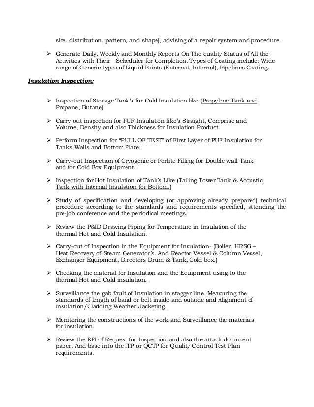 RESUME OF QAQC INSPECTOR COATINGPAINTING AND INSULATION