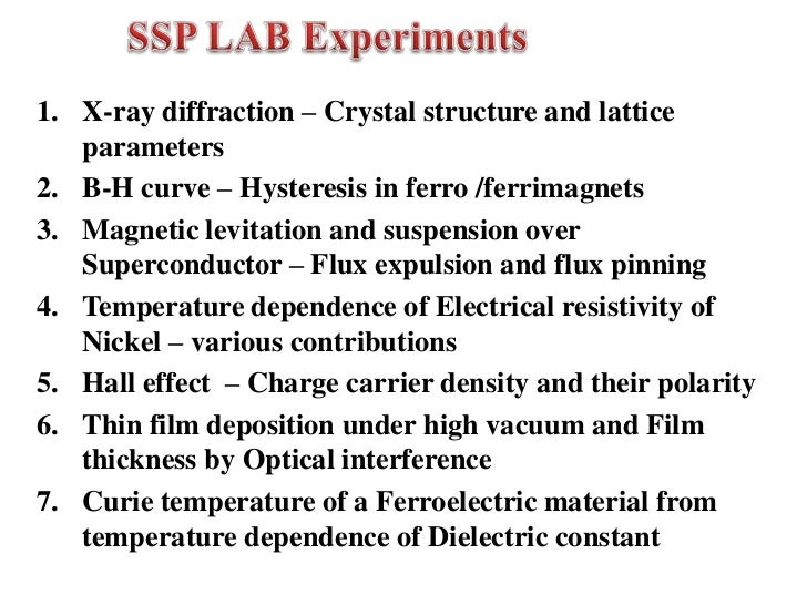Lists of Solid State Physics Experiments