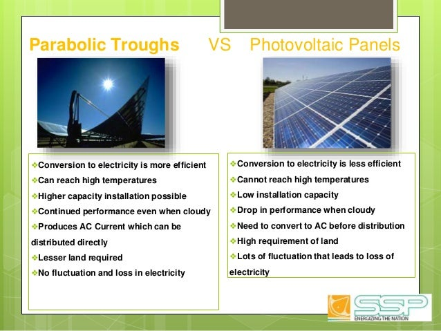 Parabolic Troughs VS Photovoltaic Panels ❖Conversion to electricity is more efficient ❖Can reach high temperatures ❖Higher...