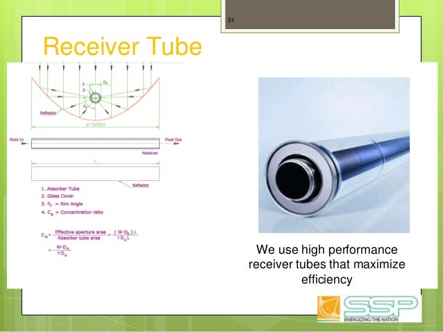 Receiver Tube 31 We use high performance receiver tubes that maximize efficiency