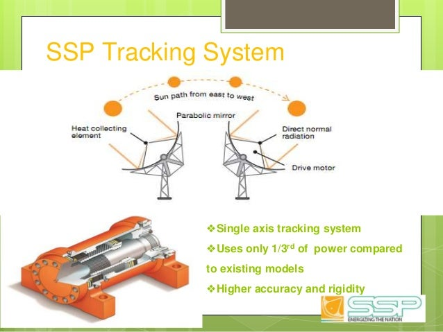 SSP Tracking System ❖Single axis tracking system ❖Uses only 1/3rd of power compared to existing models ❖Higher accuracy an...