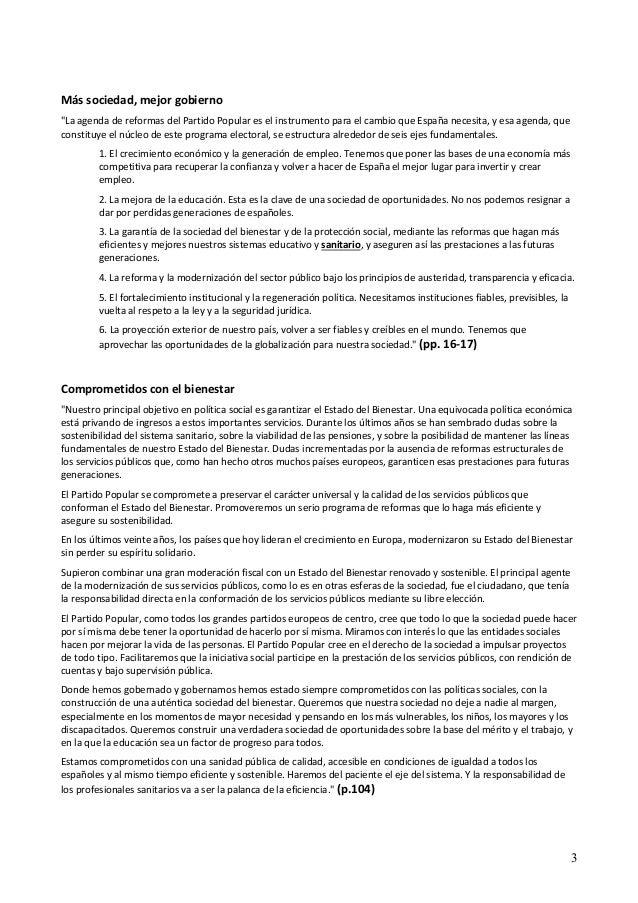 """Más sociedad, mejor gobierno  """"La agenda de reformas del Partido Popular es el instrumento para el cambio que España neces..."""