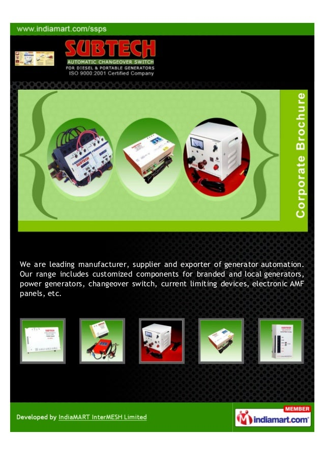 We are leading manufacturer, supplier and exporter of generator automation.Our range includes customized components for br...