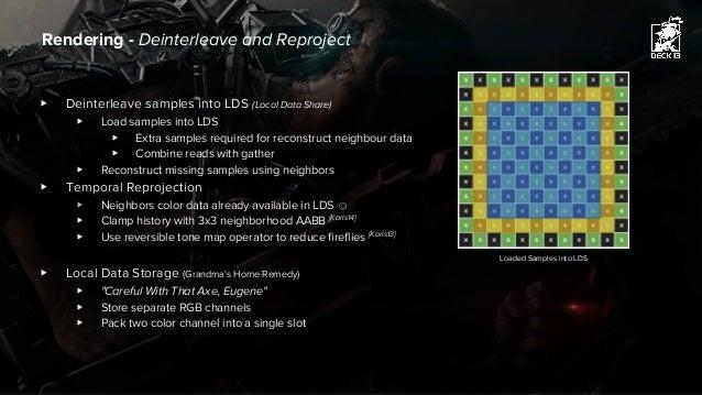 ▶ Deinterleave samples into LDS (Local Data Share) ▶ Load samples into LDS ▶ Extra samples required for reconstruct neighb...