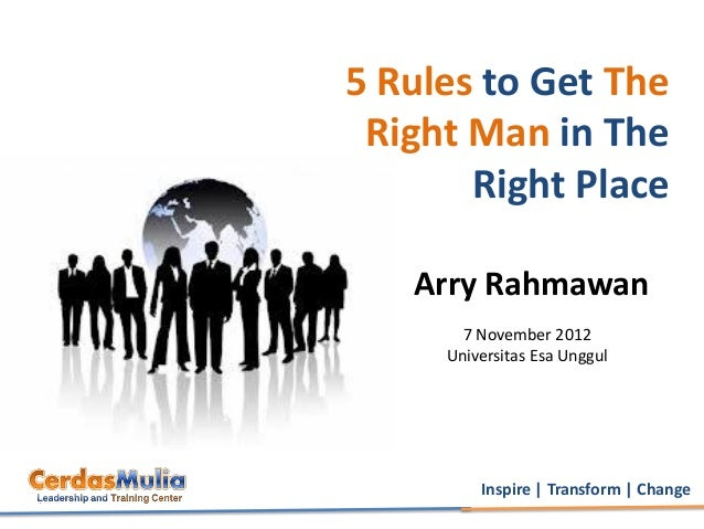5 Rules to Get The Right Man in The       Right Place   Arry Rahmawan       7 November 2012     Universitas Esa Unggul    ...