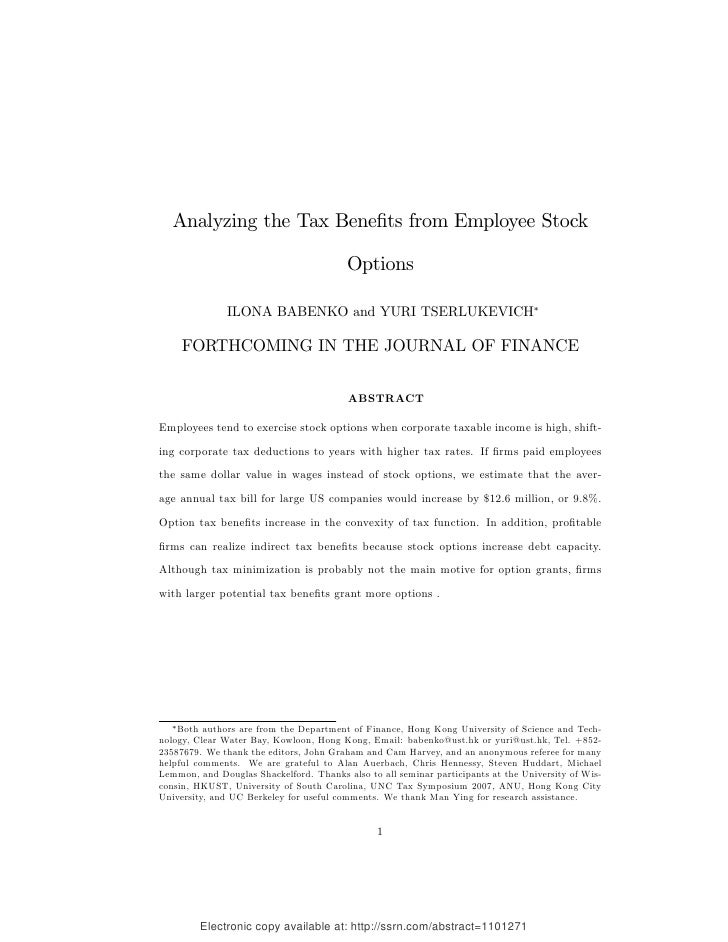 Employee stock options uk tax