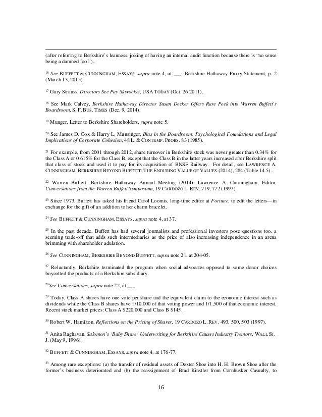 essays warren buffett cunningham The essays of warren buffett : lessons for corporate america (4th) [paperback]  by buffett, warren e / cunningham, lawrence a (com) 1 2 3 4 5 (0.