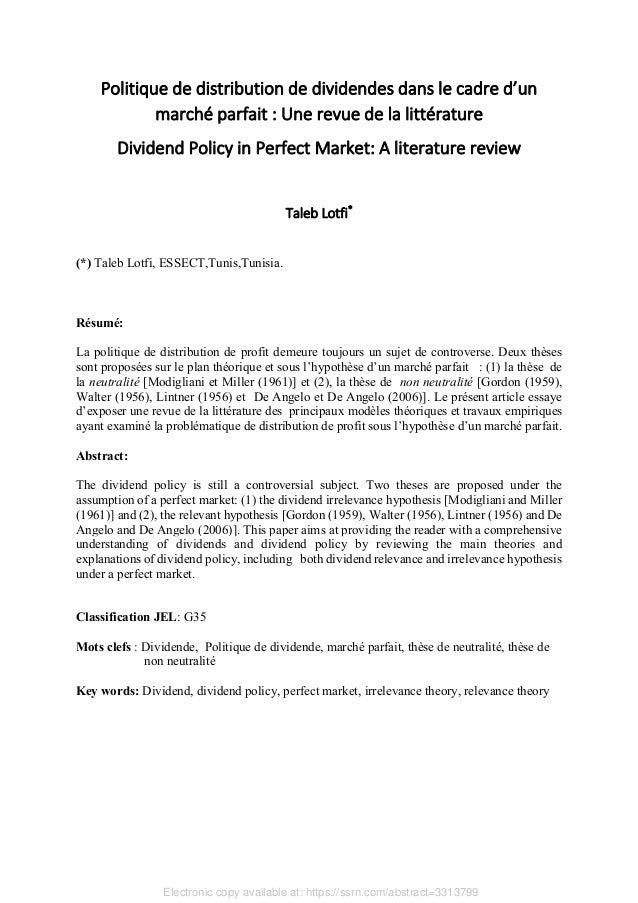 Politique de distribution de dividendes dans le cadre d'un marché parfait : Une revue de la littérature Dividend Policy in...