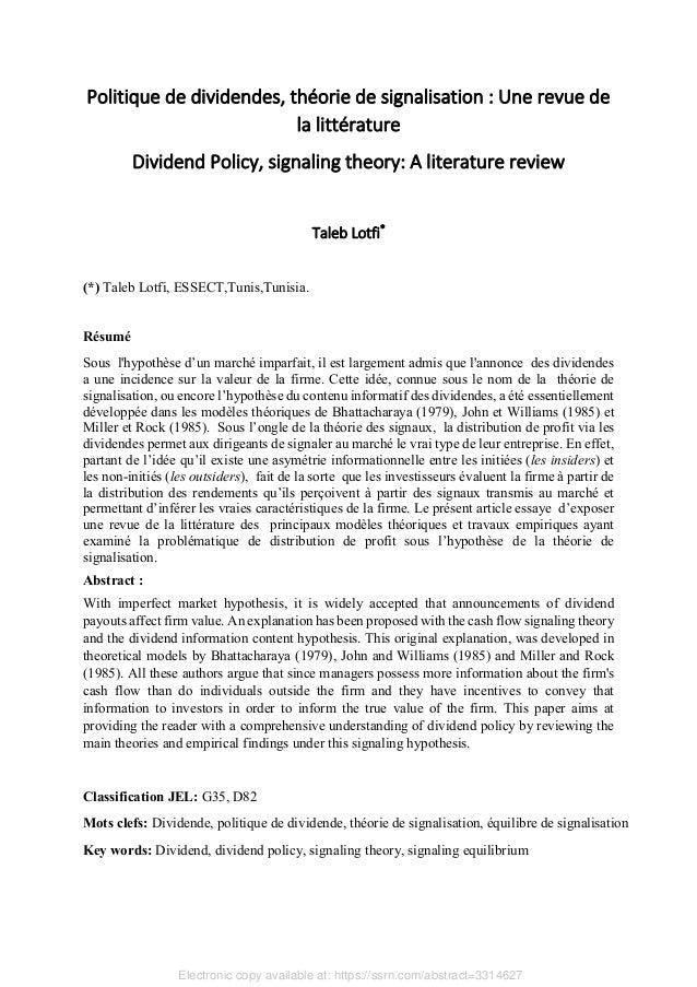 Politique de dividendes, théorie de signalisation : Une revue de la littérature Dividend Policy, signaling theory: A liter...