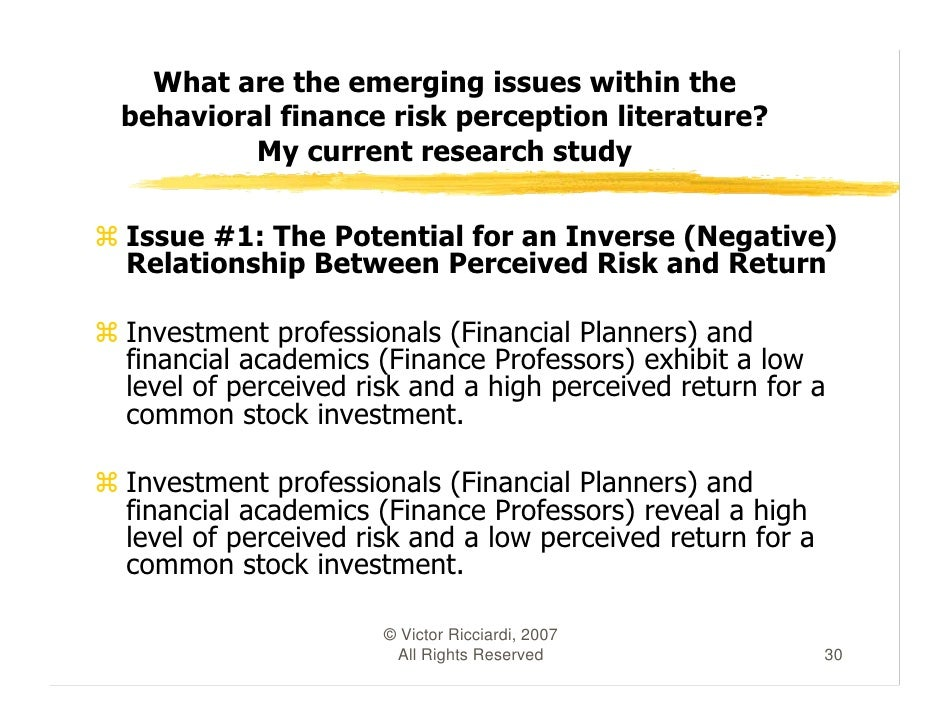 a literature review of risk perception studies in behavioral finance