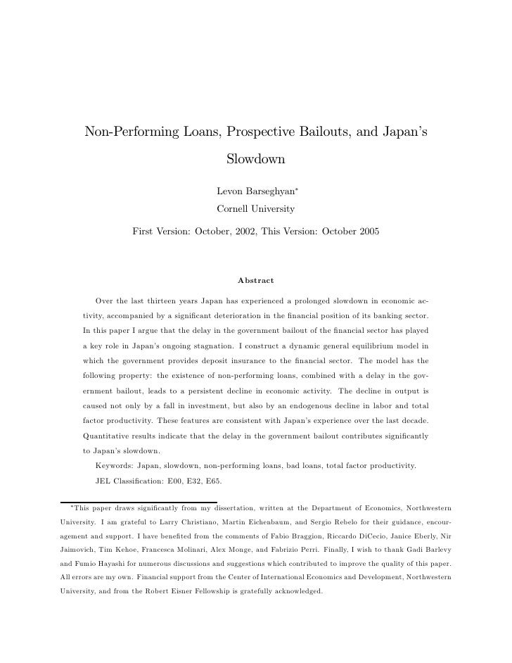 Non-Performing Loans, Prospective Bailouts, and Japan's                                                 Slowdown          ...
