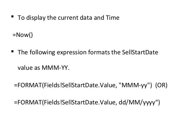 Ssrs expressions