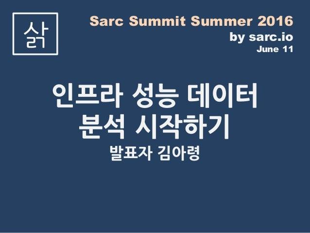 Sarc Summit Summer 2016 by sarc.io June 11 삵 인프라 성능 데이터 분석 시작하기 발표자 김아령
