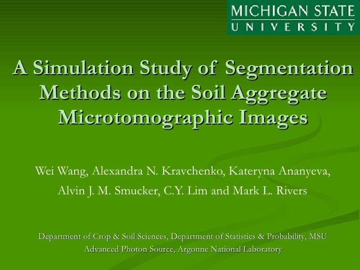 A Simulation Study of Segmentation Methods on the Soil Aggregate Microtomographic Images Wei Wang, Alexandra N. Kravchenko...
