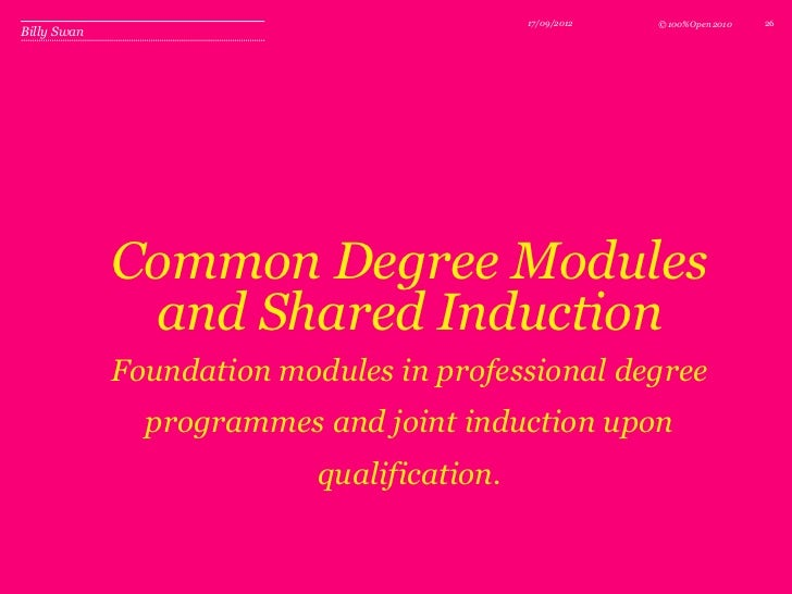 17/09/2012   © 100%Open 2010   26Billy Swan             Common Degree Modules              and Shared Induction           ...