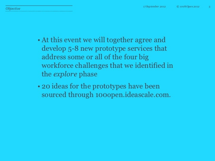 17 September 2012   © 100%Open 2012   3Objective            • At this event we will together agree and              develo...