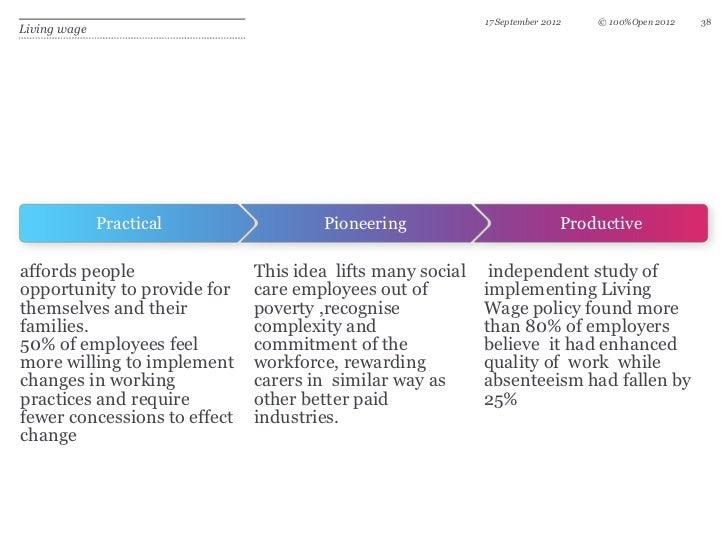 17 September 2012   © 100%Open 2012   38Living wage              Practical               Pioneering                       ...