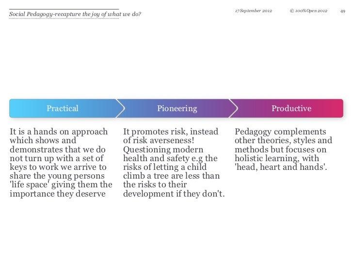 17 September 2012   © 100%Open 2012   49Social Pedagogy-recapture the joy of what we do?             Practical            ...