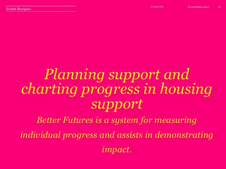 17/09/2012   © 100%Open 2010   52Yvette Burgess           Planning support and        charting progress in housing        ...