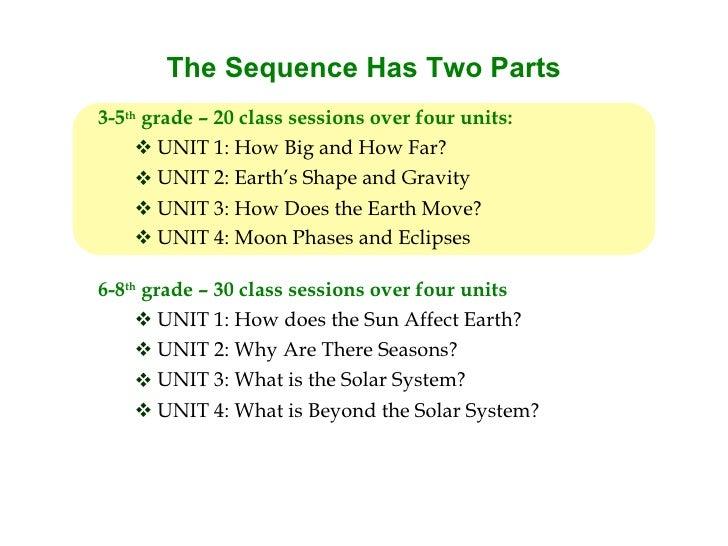 The Sequence Has Two Parts 3-5th grade – 20 class sessions over four units:       UNIT 1: How Big and How Far?       UNI...