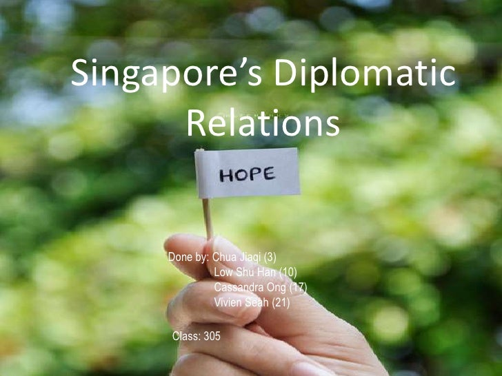 Singapore's Diplomatic Relations<br />Done by: Chua Jiaqi (3)<br />                Low Shu Han (10)<br />                C...