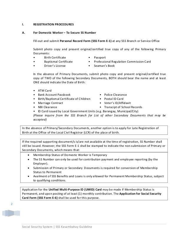 Sss Kasambahay Registration Procedures