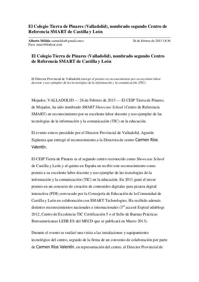 El Colegio Tierra de Pinares (Valladolid), nombrado segundo Centro deReferencia SMART de Castilla y LeónAlberto Mélida <ar...