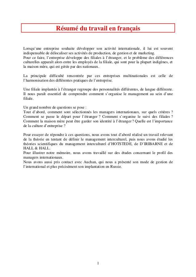1 Résumé du travail en français Lorsqu'une entreprise souhaite développer son activité internationale, il lui est souvent ...