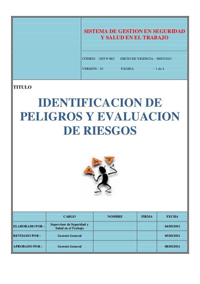 Identificacion de peligros y evaluaci n de riesgos ver 01 for Oficina de empleo por codigo postal