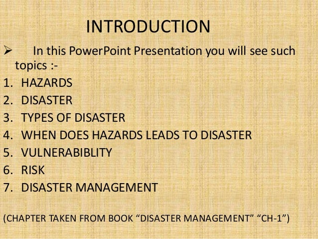 Introduction For Natural Disaster Project