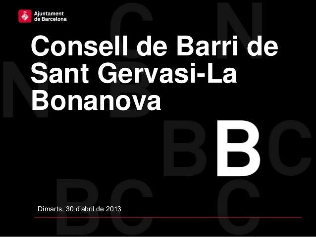 Consell de Barri deSant Gervasi-LaBonanovaDimarts, 30 d'abril de 2013