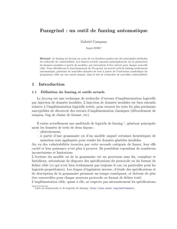 Fuzzgrind : un outil de fuzzing automatique                                             Gabriel Campana                   ...