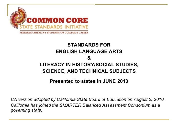 STANDARDS FOR                    ENGLISH LANGUAGE ARTS                               &              LITERACY IN HISTORY/SO...