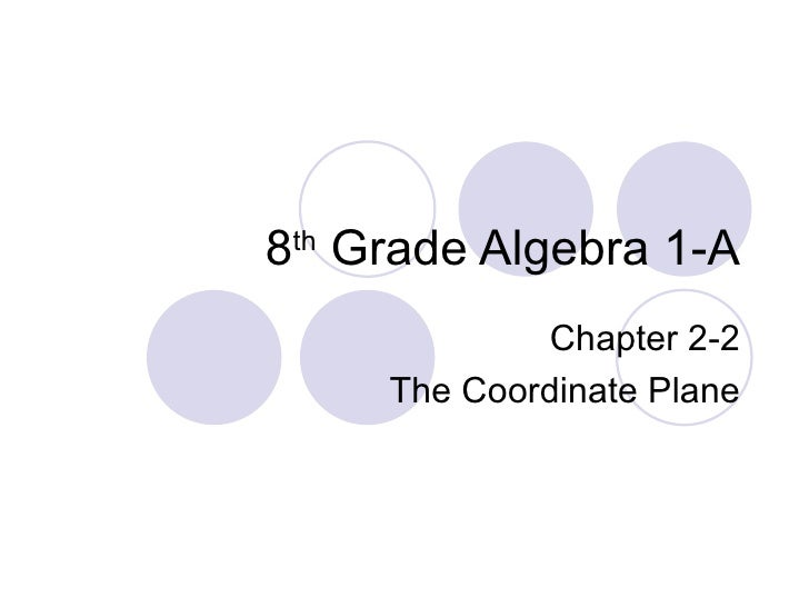 8 th  Grade Algebra 1-A Chapter 2-2 The Coordinate Plane