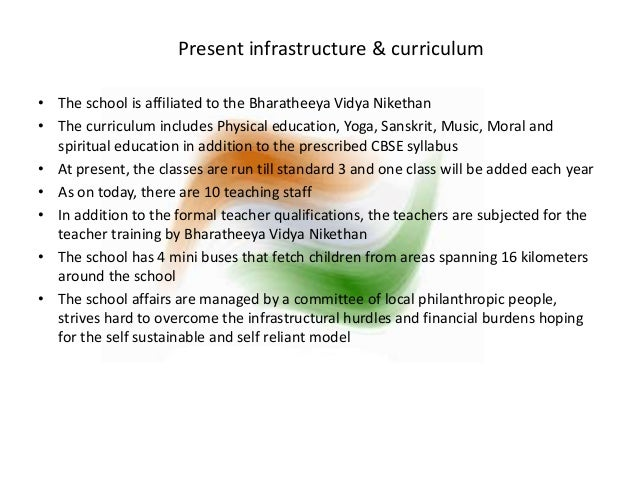 Present infrastructure & curriculum  • The school is affiliated to the Bharatheeya Vidya Nikethan  • The curriculum includ...