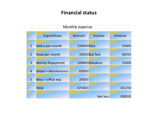 Financial status  Expenditure Amount Income Amount  1 Salary per month 226000Fees 55800  2 Food per month 33000Bus fare 60...
