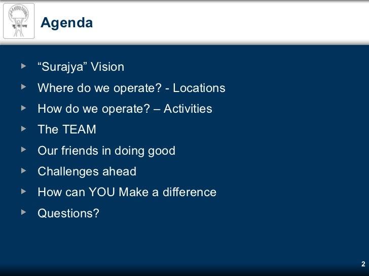 Surajya Sarvangin Vikas Prakalp - holistic individual development Slide 2
