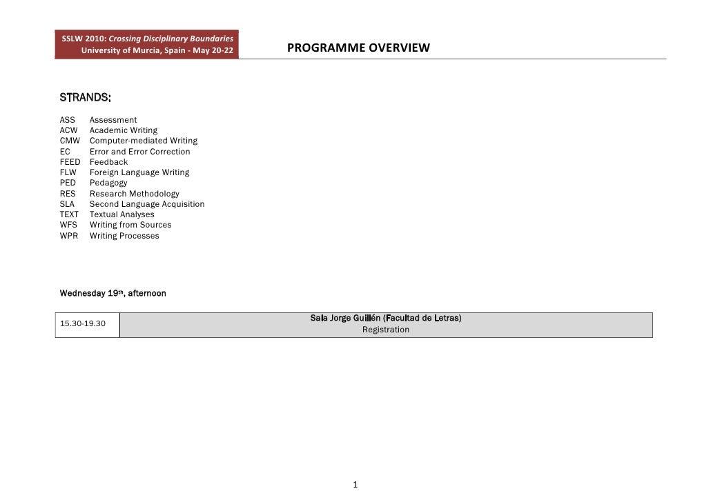 SSLW2010:CrossingDisciplinaryBoundaries         UniversityofMurcia,Spain‐May20‐22   PROGRAMMEOVERVIEW    ST...