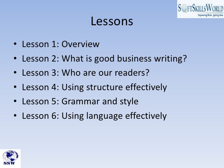 Ssw presents introduction to business writing skills module Slide 2