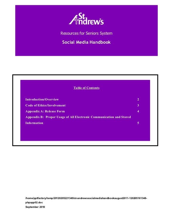 St. andrew's social media handbook (august 2011)